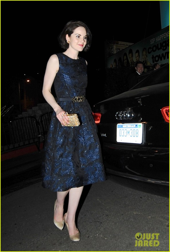 Michelle Dockery exits Chateau Marmont