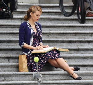 Actress Blake Lively films scenes for 'Age of Adaline' on March 18, 2014 in Vancouver, Canada